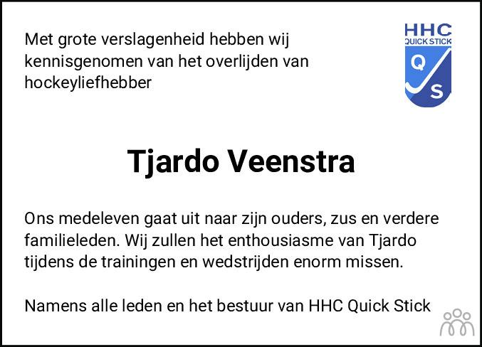 Overlijdensbericht van Tjardo Veenstra in Leeuwarder Courant