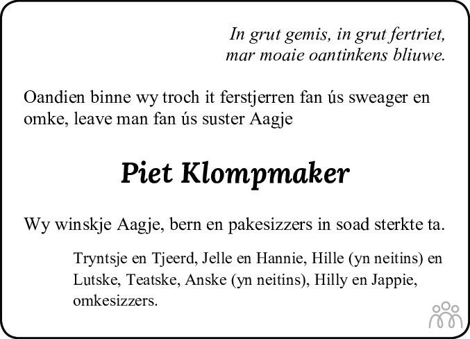 Overlijdensbericht van Pieter (Piet) Klompmaker in Leeuwarder Courant