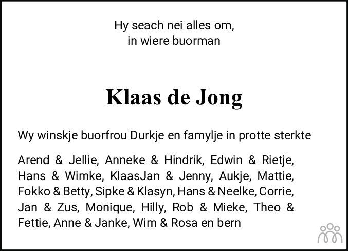Overlijdensbericht van Klaas Melle de Jong in Leeuwarder Courant