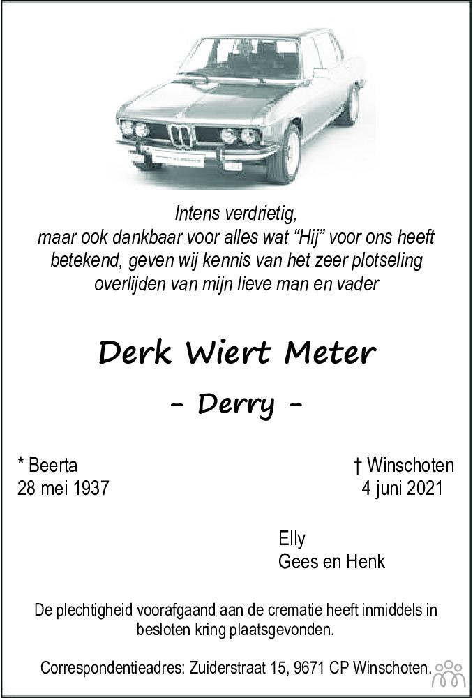 Overlijdensbericht van Derk Wiert (Derry) Meter in Dagblad van het Noorden