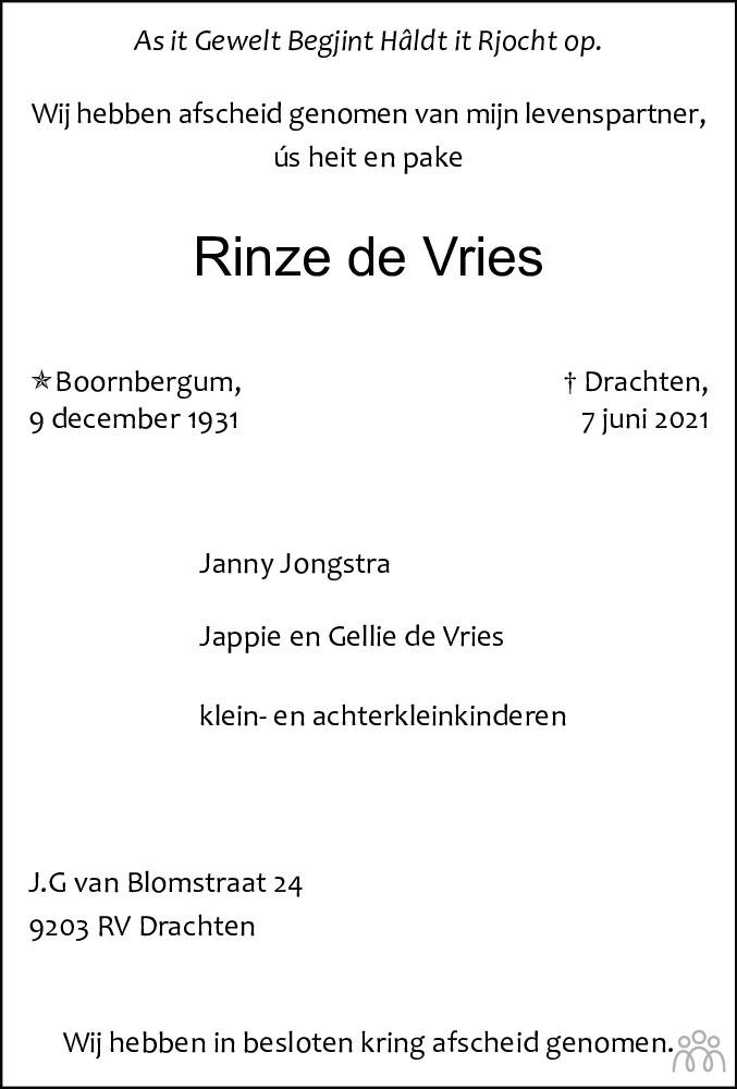 Overlijdensbericht van Rinze de Vries in Leeuwarder Courant