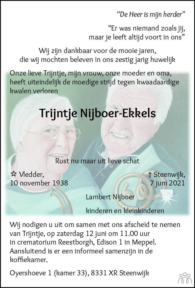 Overlijdensbericht van Trijntje Nijboer-Ekkels in Meppeler Courant