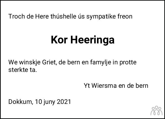 Overlijdensbericht van Kornelis Heeringa in Friesch Dagblad