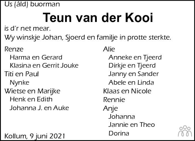 Overlijdensbericht van Teun van der Kooi in Nieuwsblad Noordoost-Friesland