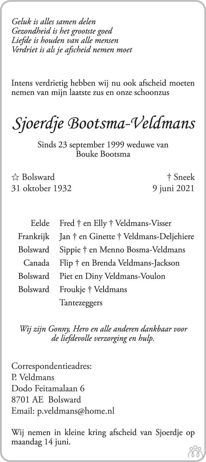 Overlijdensbericht van Sjoerdje Bootsma-Veldmans in Leeuwarder Courant