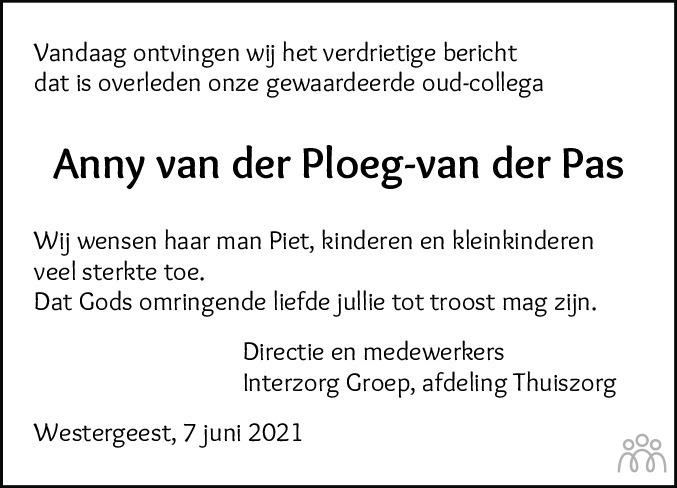 Overlijdensbericht van Anny van der Ploeg-van der Pas in Friesch Dagblad