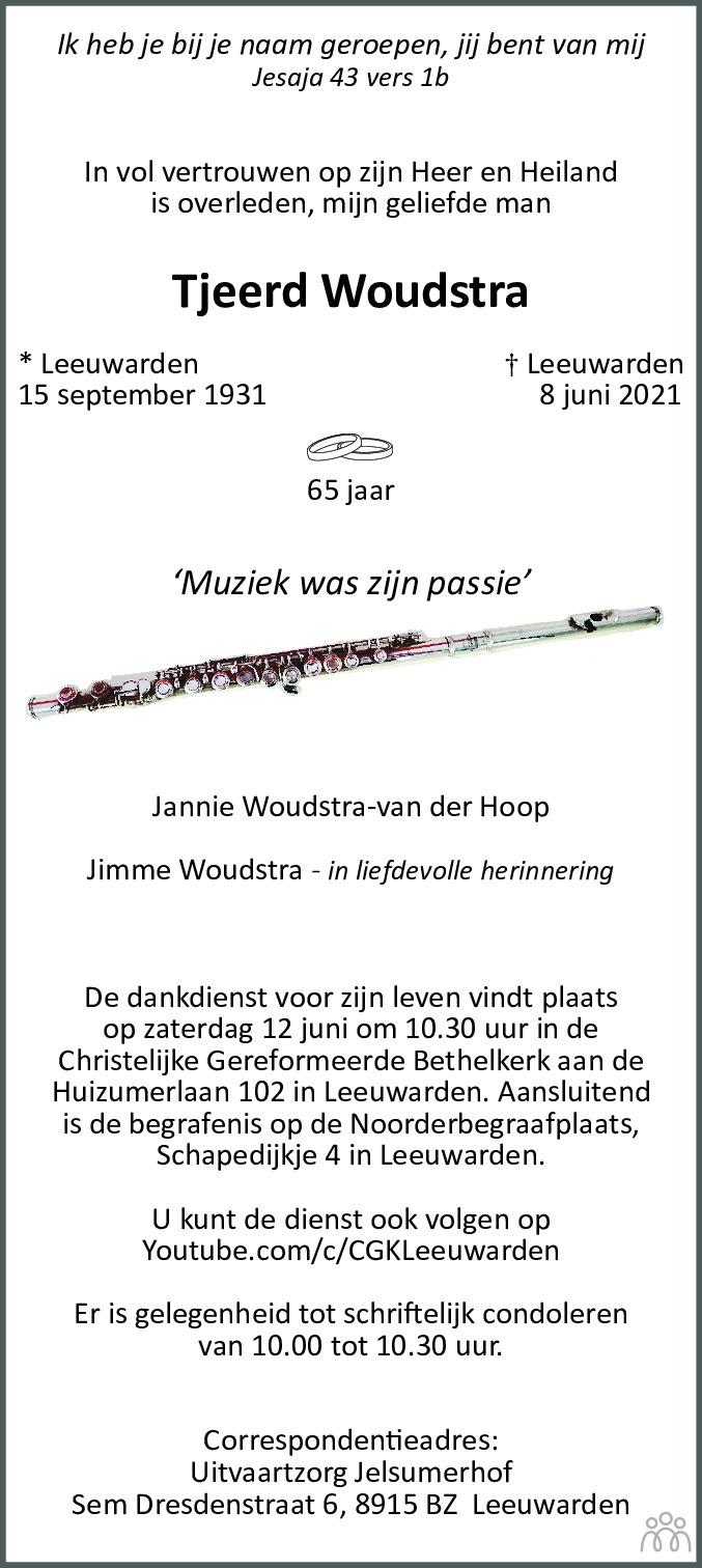 Overlijdensbericht van Tjeerd Woudstra in Leeuwarder Courant