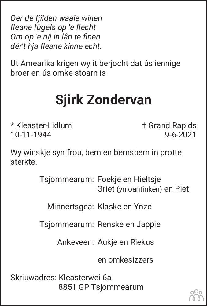 Overlijdensbericht van Sjirk Zondervan in Leeuwarder Courant