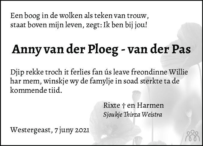 Overlijdensbericht van Anny van der Ploeg-van der Pas in Nieuwsblad Noordoost-Friesland