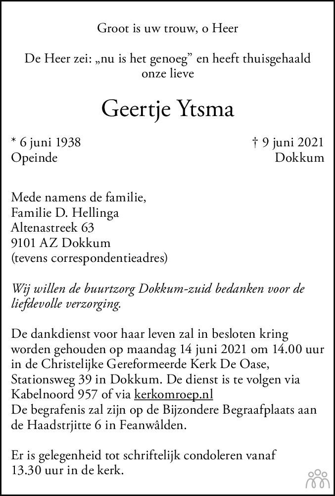 Overlijdensbericht van Geertje Ytsma in Friesch Dagblad
