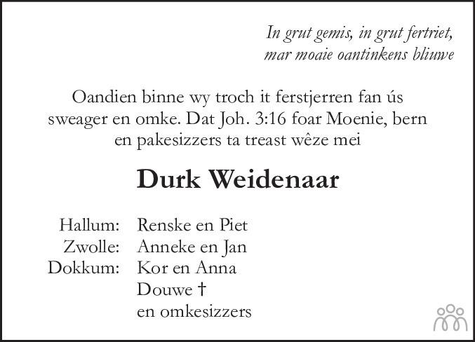 Overlijdensbericht van Durk (Dirk) Weidenaar in Leeuwarder Courant