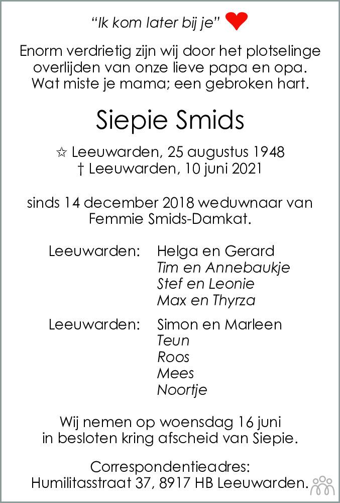 Overlijdensbericht van Siepie Smids in Leeuwarder Courant