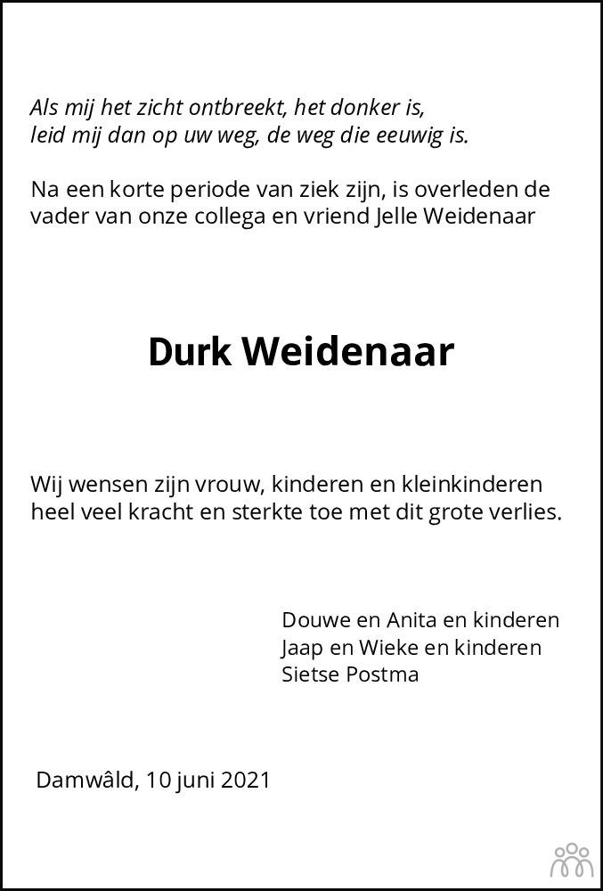 Overlijdensbericht van Durk (Dirk) Weidenaar in Friesch Dagblad