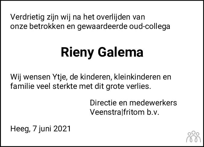 Overlijdensbericht van Reinerus Yme Maria (Rieny) Galema in Leeuwarder Courant