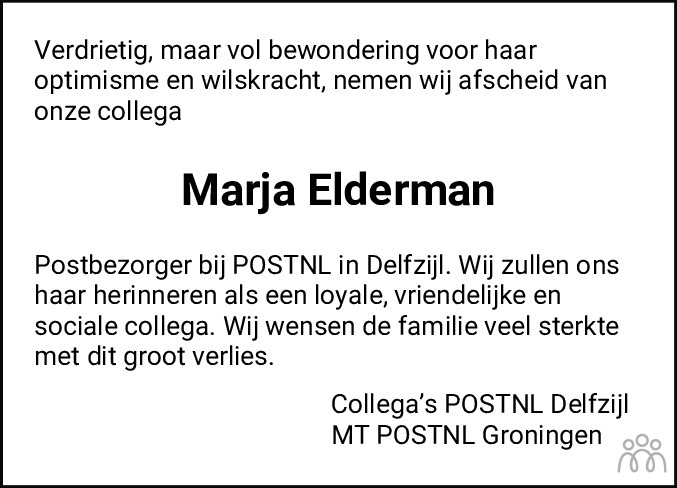 Overlijdensbericht van Marja Elderman-Karsies in Dagblad van het Noorden