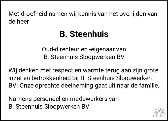 Overlijdensbericht van Bertus Steenhuis in Dagblad van het Noorden