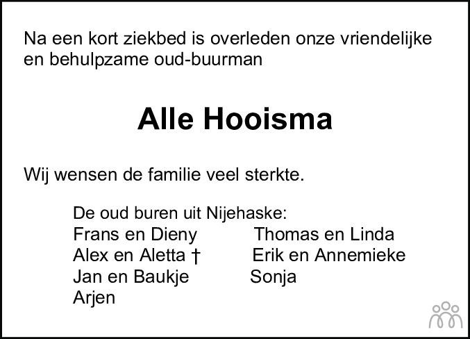 Overlijdensbericht van Alle Hooisma in Leeuwarder Courant
