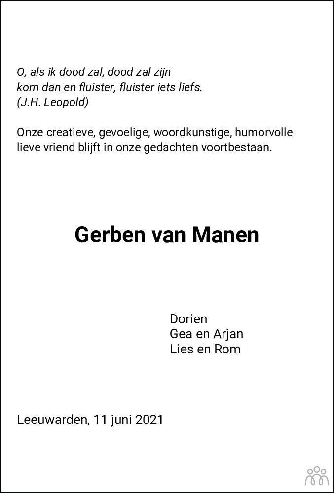 Overlijdensbericht van Gerben Marten van Manen in Leeuwarder Courant