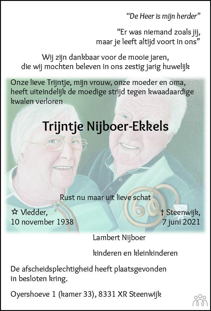 Overlijdensbericht van Trijntje Nijboer-Ekkels in Steenwijker Courant