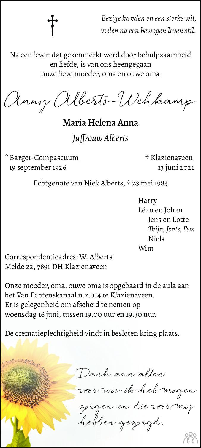 Overlijdensbericht van Anny (Maria Helena Anna) Alberts-Wehkamp in Dagblad van het Noorden