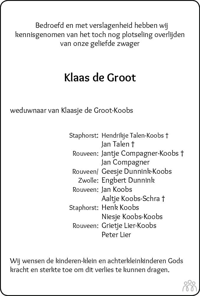 Overlijdensbericht van Klaas de Groot in Meppeler Courant
