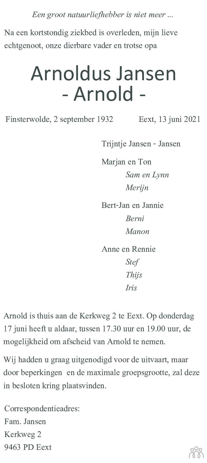 Overlijdensbericht van Arnoldus (Arnold) Jansen in Dagblad van het Noorden
