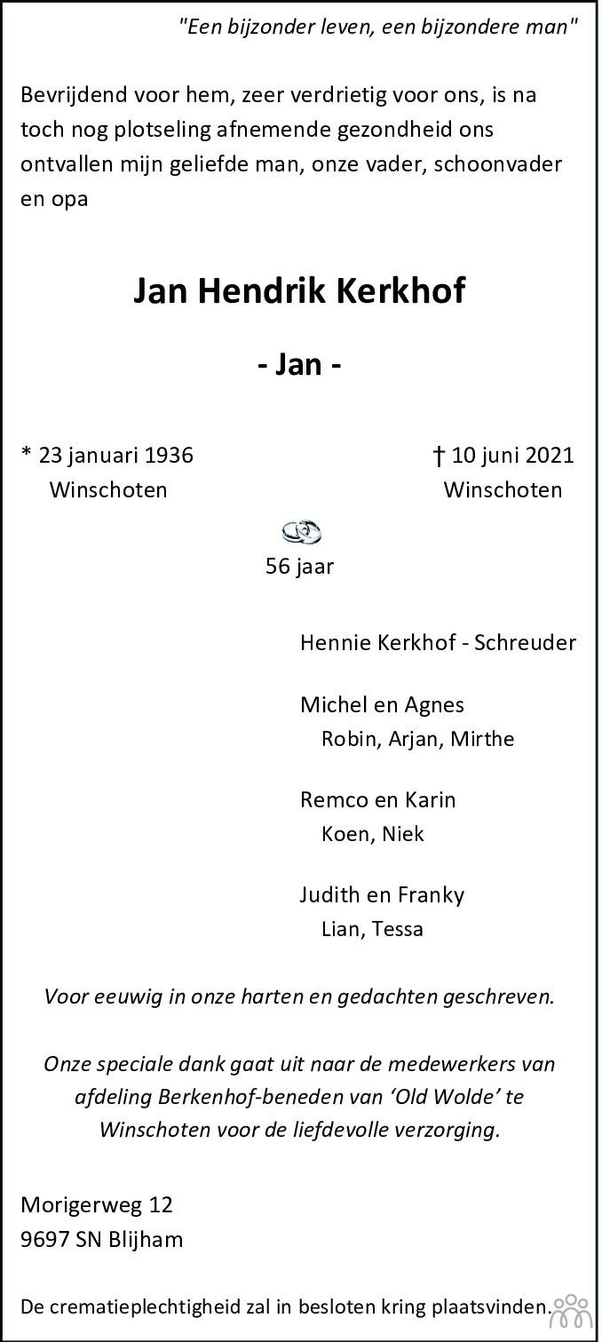 Overlijdensbericht van Jan Hendrik Kerkhof in Dagblad van het Noorden