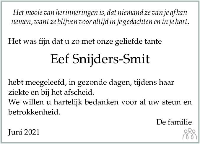 Overlijdensbericht van Eef Snijders-Smit in Dagblad van het Noorden