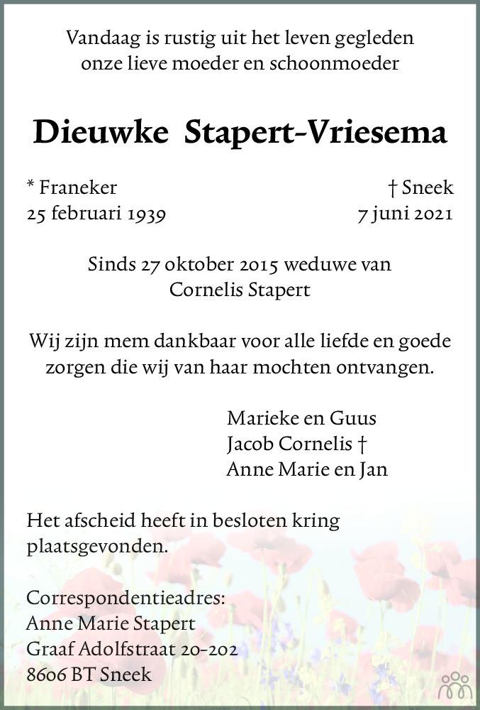 Overlijdensbericht van Dieuwke Stapert-Vriesema in Franeker Courant
