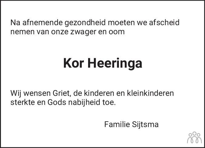 Overlijdensbericht van Kornelis Heeringa in Dockumer Courant