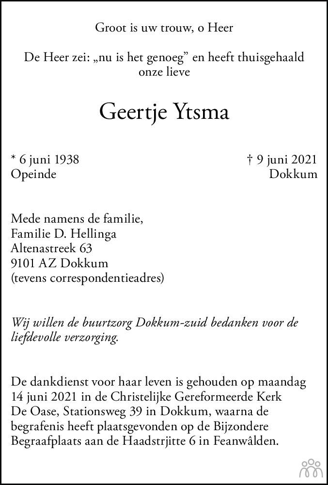 Overlijdensbericht van Geertje Ytsma in Dockumer Courant