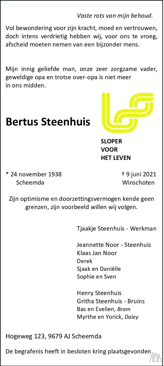 Overlijdensbericht van Bertus Steenhuis in Streekblad/Pekelder Streekblad