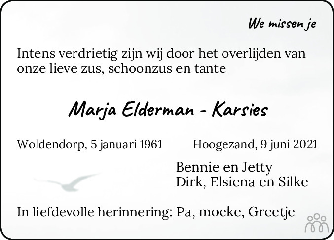 Overlijdensbericht van Marja Elderman-Karsies in Eemsbode/Noorderkrant