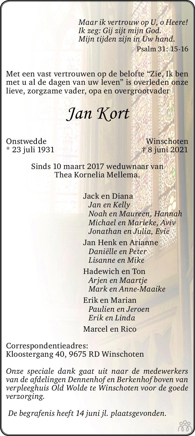 Overlijdensbericht van Jan Kort in Streekblad/Pekelder Streekblad