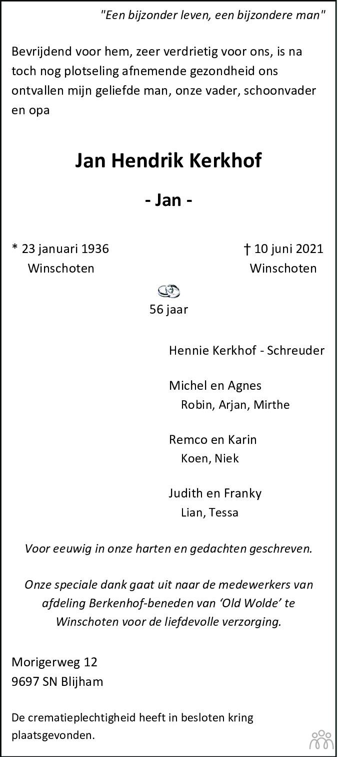 Overlijdensbericht van Jan Hendrik Kerkhof in Kanaalstreek Ter Apeler Courant