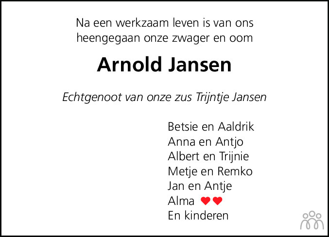 Overlijdensbericht van Arnoldus (Arnold) Jansen in Eemsbode/Noorderkrant
