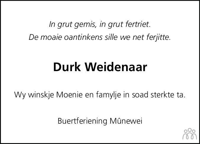 Overlijdensbericht van Durk (Dirk) Weidenaar in Dockumer Courant