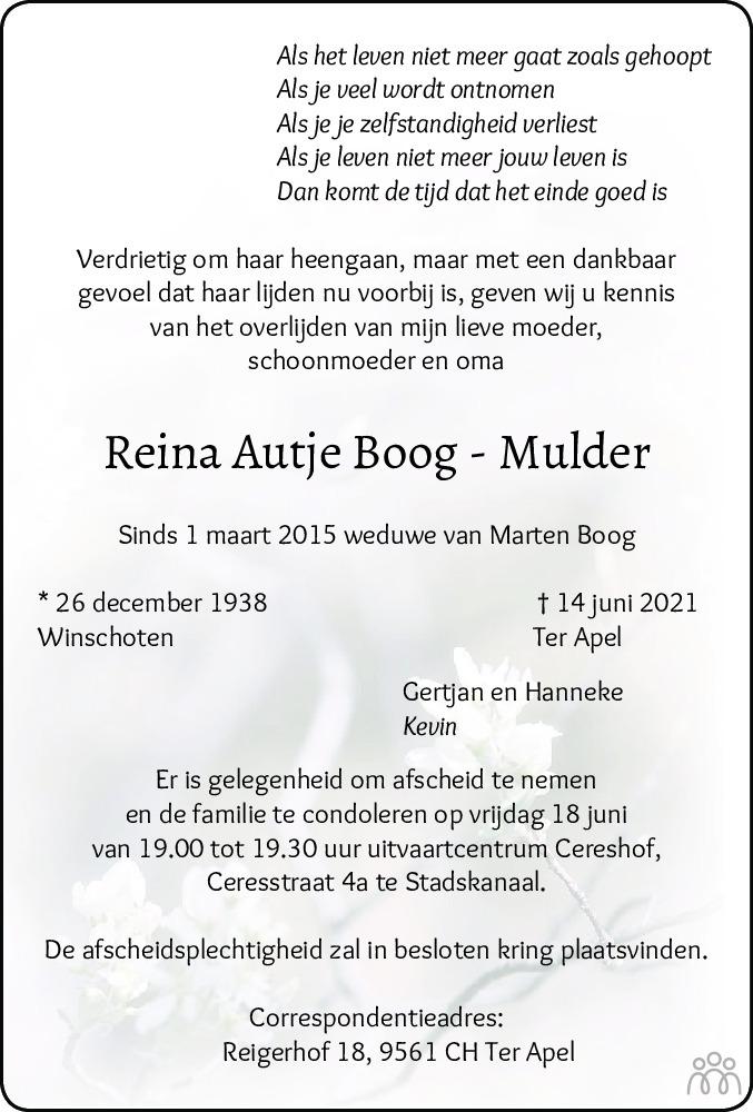 Overlijdensbericht van Reina Autje Boog-Mulder in Dagblad van het Noorden