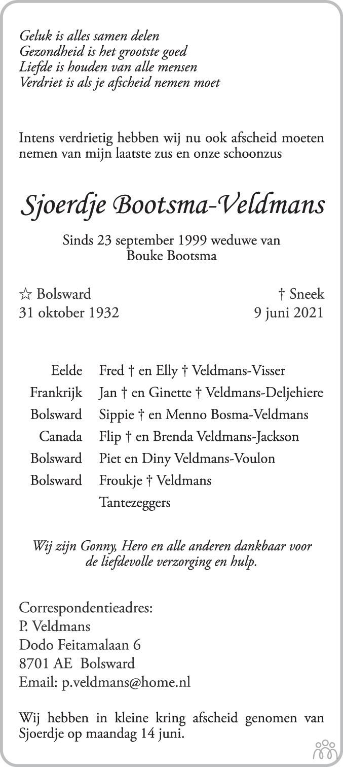 Overlijdensbericht van Sjoerdje Bootsma-Veldmans in Bolswards Nieuwsblad