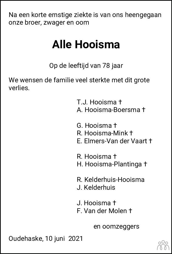 Overlijdensbericht van Alle Hooisma in Jouster Courant Zuid Friesland