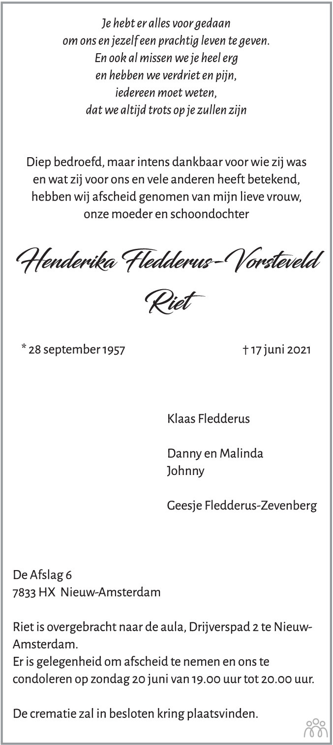 Overlijdensbericht van Henderika (Riet) Fledderus-Vorsteveld in Dagblad van het Noorden