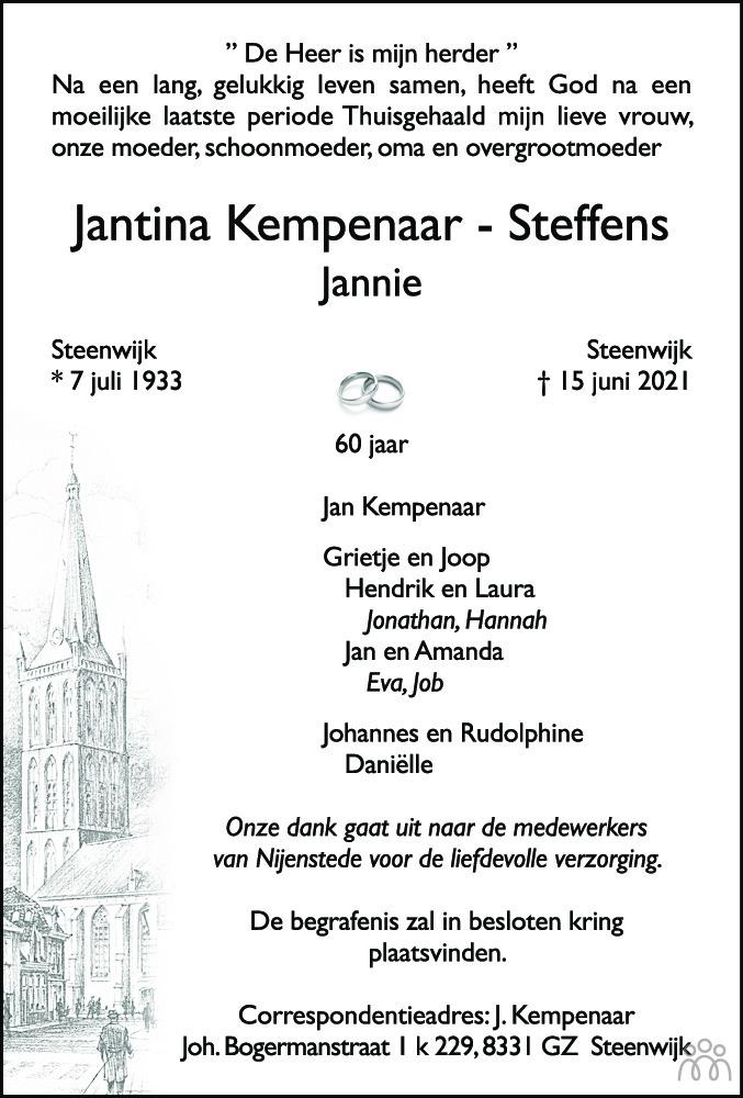 Overlijdensbericht van Jantina (Jannie) Kempenaar-Steffens in Meppeler Courant