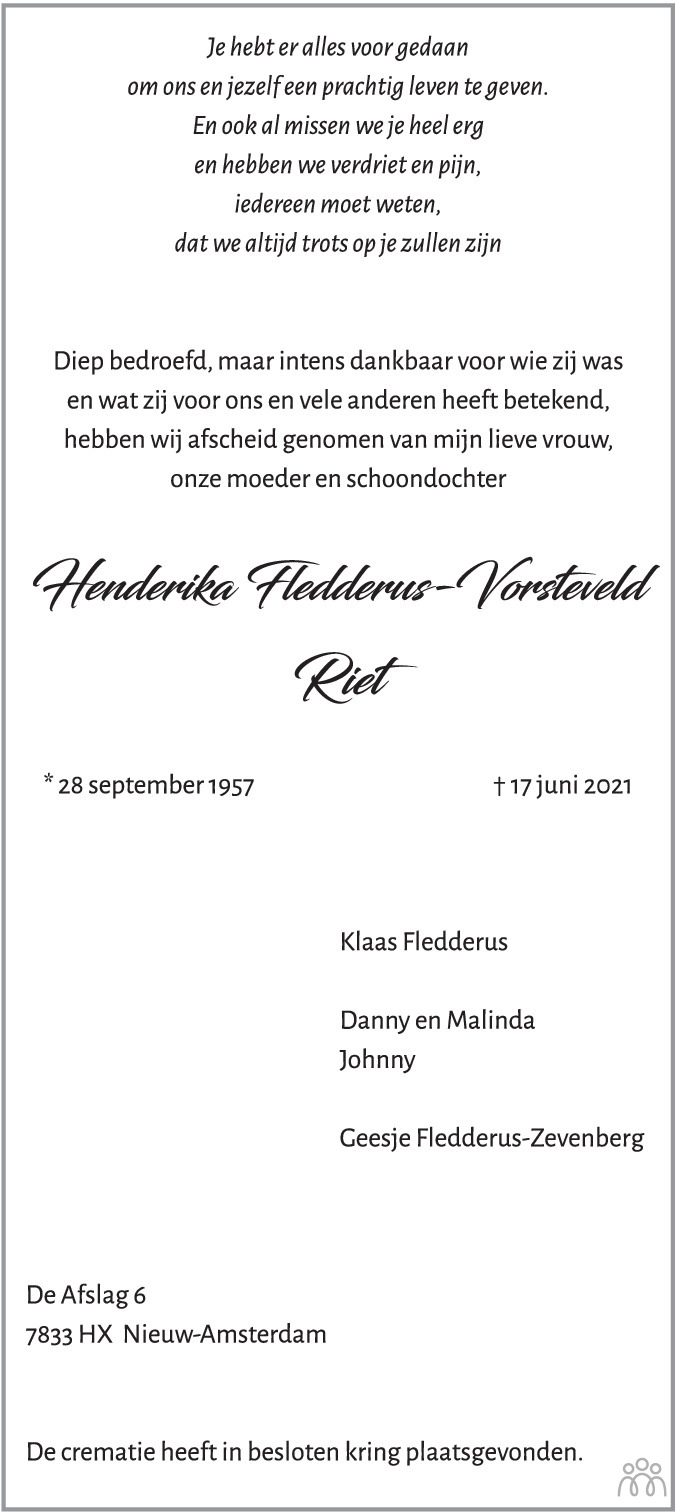 Overlijdensbericht van Henderika (Riet) Fledderus-Vorsteveld in Emmen Nu