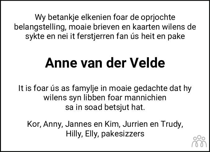 Overlijdensbericht van Anne van der Velde in Friesch Dagblad