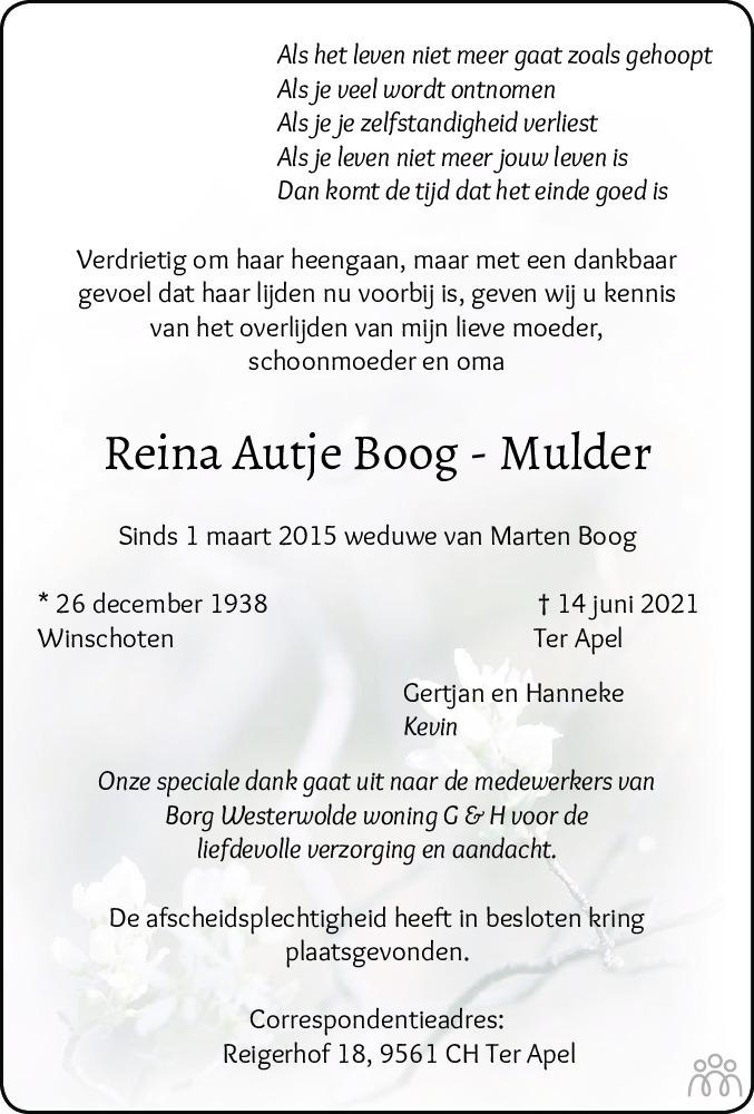 Overlijdensbericht van Reina Autje Boog-Mulder in Kanaalstreek Ter Apeler Courant