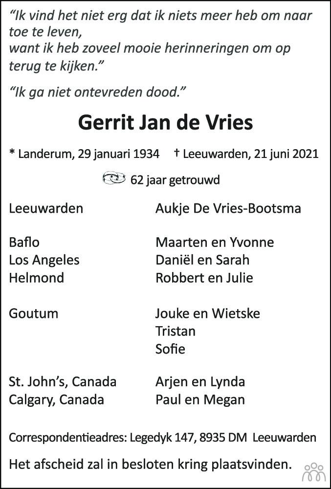 Overlijdensbericht van Gerrit Jan de Vries in Leeuwarder Courant