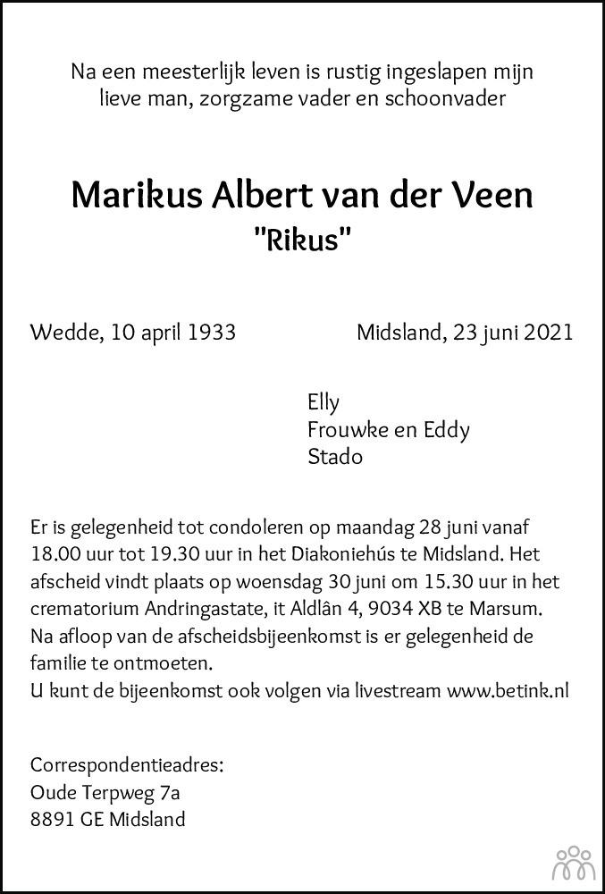 Overlijdensbericht van Marikus Albert (Rikus) van der Veen in Leeuwarder Courant