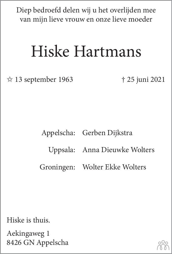 Overlijdensbericht van Hiske Hartmans in Dagblad van het Noorden