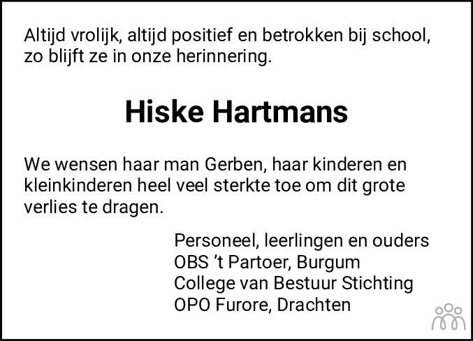Overlijdensbericht van Hiske Hartmans in Leeuwarder Courant