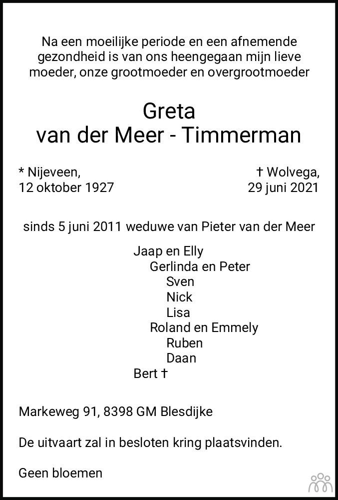 Overlijdensbericht van Greta van der Meer-Timmerman in De Stellingwerf
